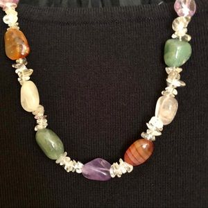 Jewelry - Handmade Gem Stone Necklace Amethyst Rose Quartz